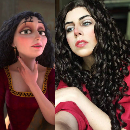 Mother Gothel Brown Curly Hair Synthetic Lace Front Wig