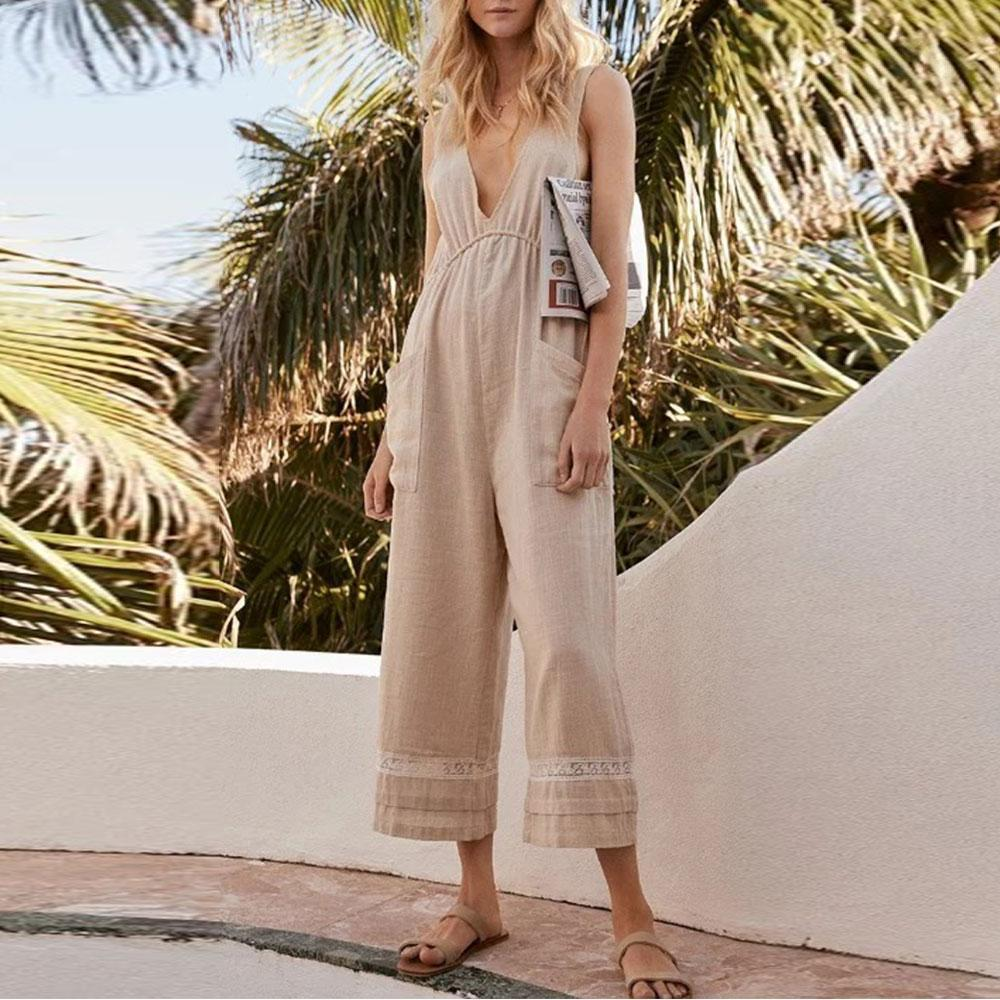 72865388d883 Lace Holiday Style Deep V Neck And High Waist Jumpsuit – Mimicloth