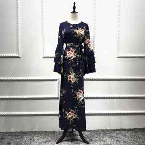 b089106f23950 Muslim Print Abaya Flare Sleeve Dress Long Robe Gowns Tunic Kimono Ramadan  Islamic Prayer Clothing Worship Service Wholesale