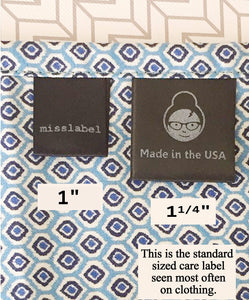 "1 1/4"" Black STANDARD Sew-In Satin Clothing labels Care tags"