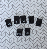 Woven BLACK Size Labels XS-3XL : Batch of 20