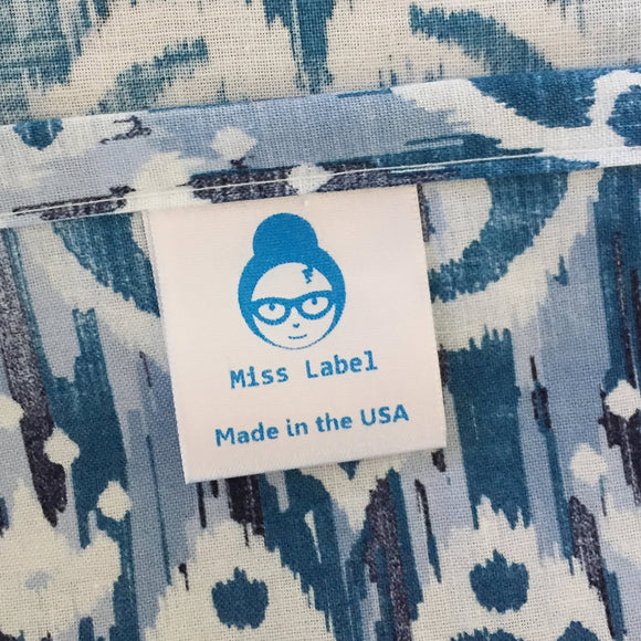 Blue STANDARD Sew-In Custom satin printed clothing care labels - 1 5/16