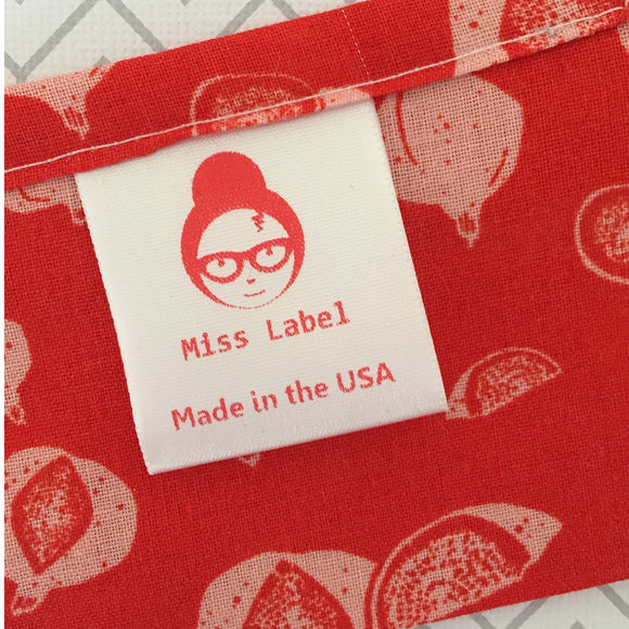 Red STANDARD Custom sew-in soft Satin Clothing care labels -1 5/16