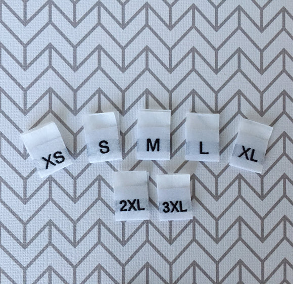 Woven WHITE Size Labels XS-3XL : Batch of 20