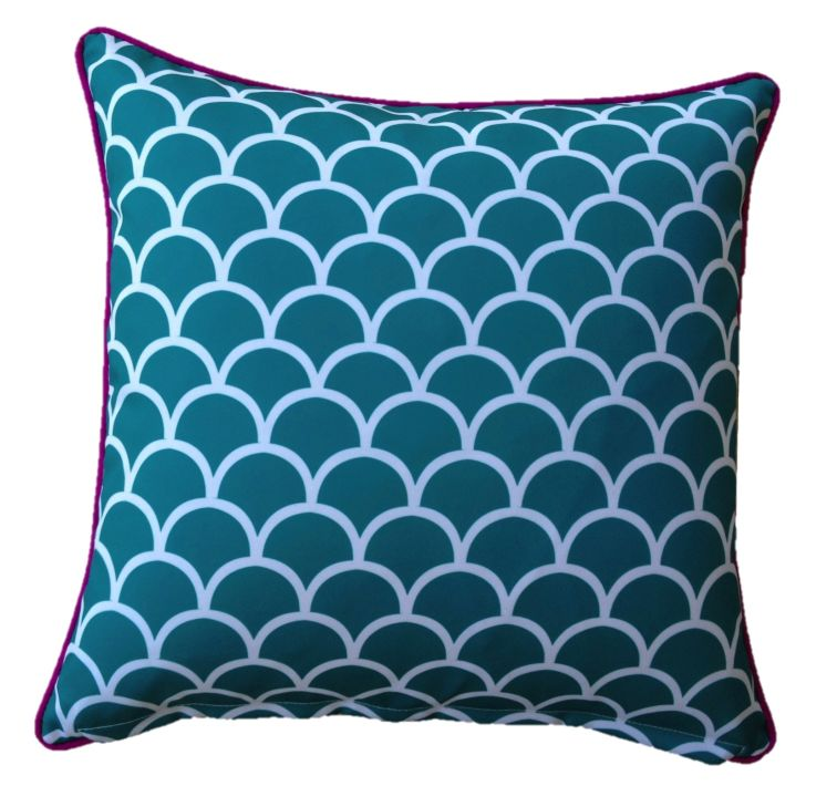 Aqua Fishscale Outdoor Cushion Cover 45 x 45cm