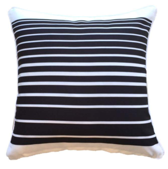 Black Stripe Outdoor Cushion Cover 45 x 45cm