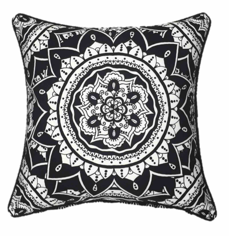 Black Mandala Outdoor Cushion Cover 45 x 45cm