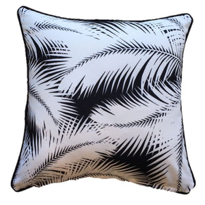 Black Palm Leaves Outdoor Cushion Cover 60 x 60cm