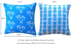 Blue Palmapple Outdoor Cushion Cover 60 x 60cm