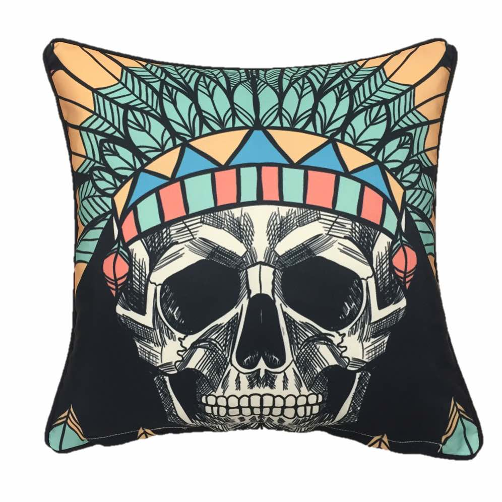 Black Boho Skull Outdoor Cushion Cover 45 x 45cm