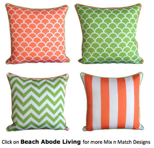 Orange Lime Green Stripe Outdoor Cushion Cover 45 x 45cm
