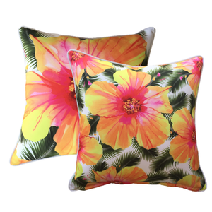 Hibiscus White Outdoor Cushion Cover 45 x 45cm