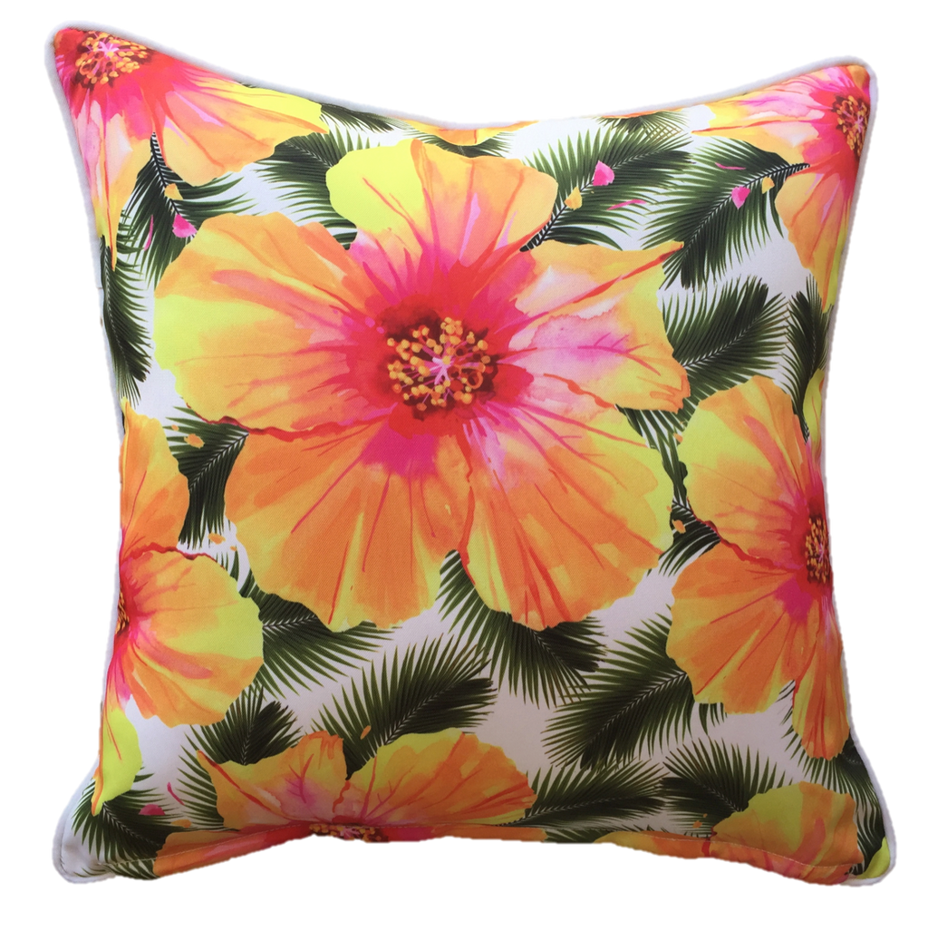 Hibiscus White Outdoor Cushion Cover 60 x 60cm