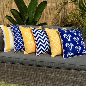 Mykonos Blue Yellow Chevron Outdoor Cushion Cover 45 x 45cm