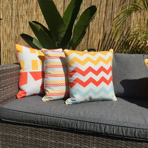 Yellow Mini Chevron Outdoor Cushion Cover 45 x 45cm