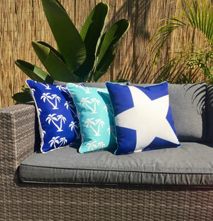 Star Blue Outdoor Cushion Cover 45 x 45cm