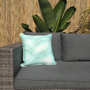 Mint Taupe Palm Leaves Outdoor Cushion Cover 45 x 45cm