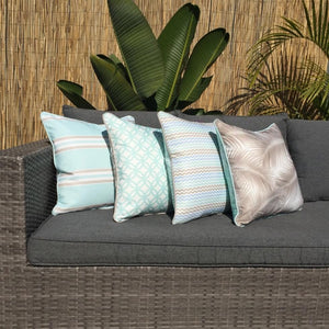 Mint Taupe Resort Stripe Outdoor Cushion Cover 45 x 45cm