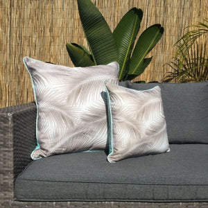 Mint Taupe Palm Leaves Outdoor Cushion Cover 60 x 60cm