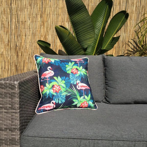 Flamingo Navy Outdoor Cushion Cover 45 x 45cm