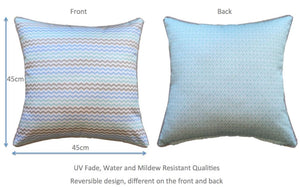 Mint Mini Chevron Outdoor Cushion Cover 45 x 45cm