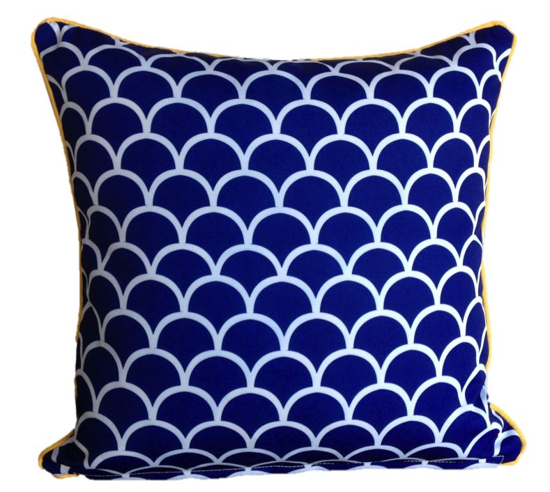 Mykonos Blue Fishscale Outdoor Cushion Cover 45 x 45cm
