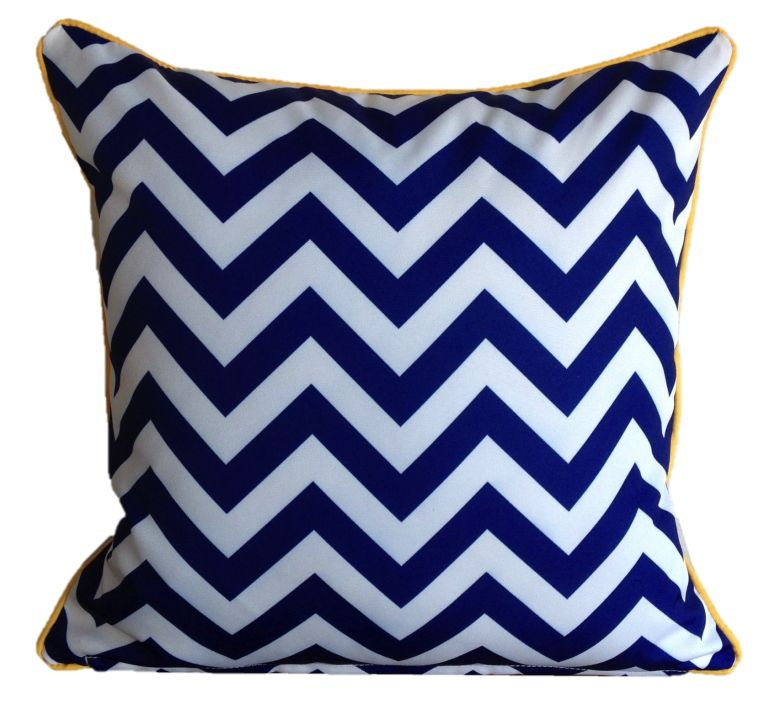 Mykonos Blue Yellow Chevron Outdoor Cushion Cover 60 x 60cm