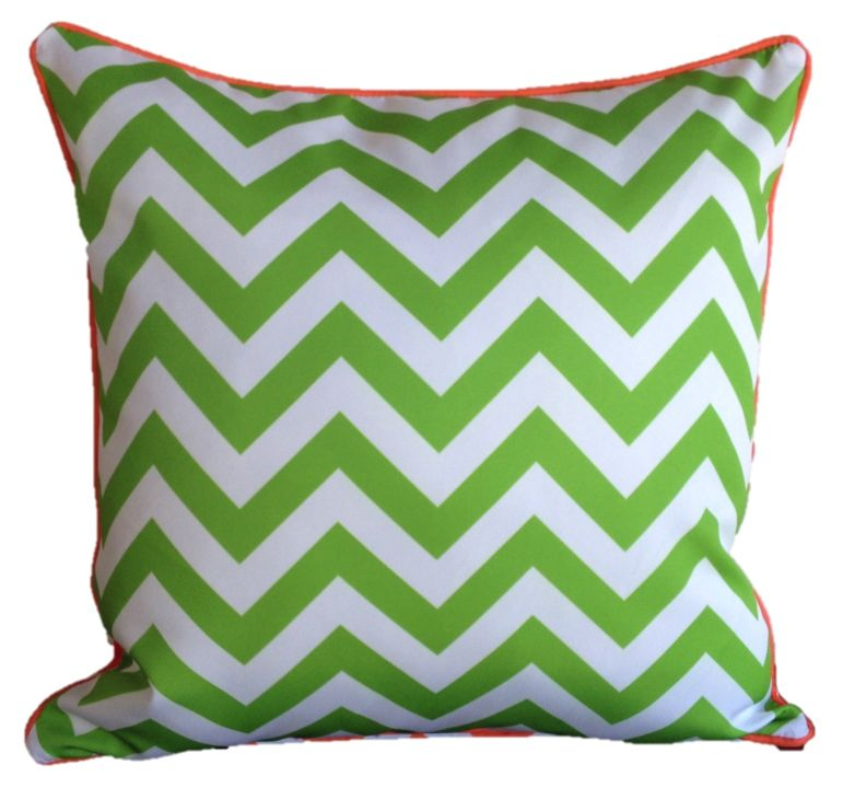 Orange Lime Green Chevron Outdoor Cushion Cover 60 x 60cm