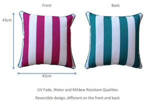 Pink Aqua Stripe Outdoor Cushion Cover 45 x 45cm