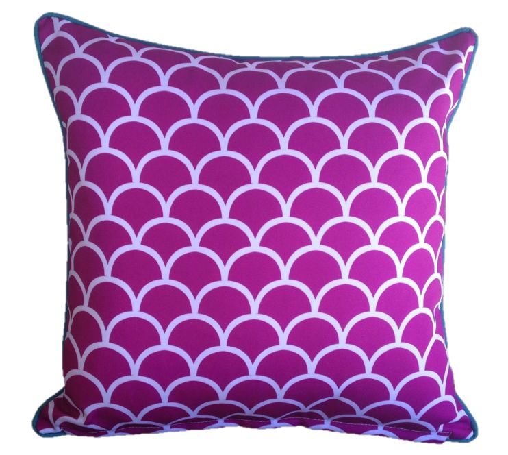 Pink Fishscale Outdoor Cushion Cover 45 x 45cm