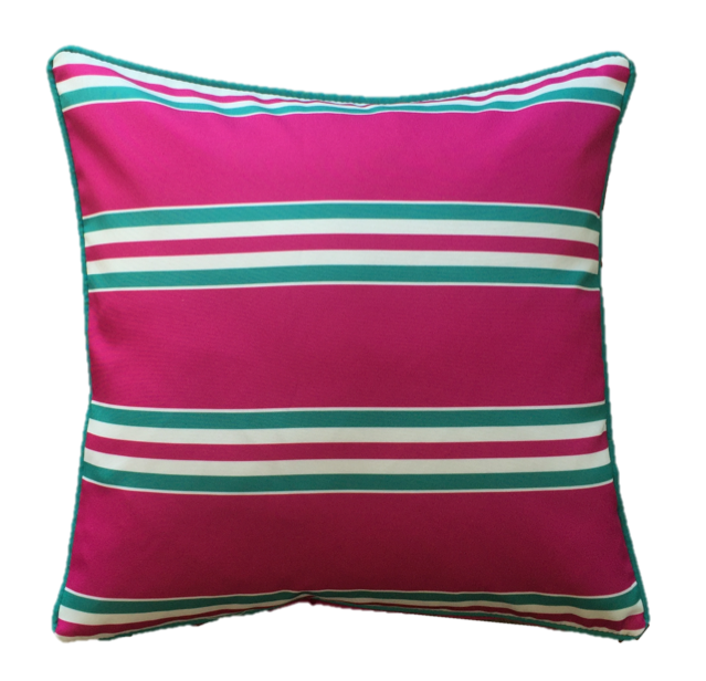Pink Aqua Resort Stripe Outdoor Cushion Cover 45 x 45cm