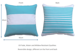 Turq Stripe Outdoor Cushion Cover 45 x 45cm