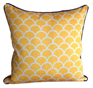 Yellow Fishscale Outdoor Cushion Cover 45 x 45cm
