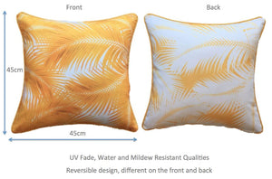 Yellow Palm Leaves Outdoor Cushion Cover 45 x 45cm