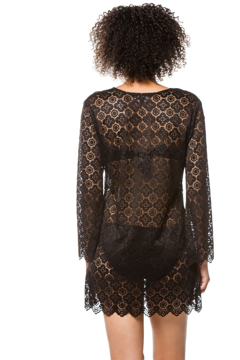 J.Valdi Croatia Bell Long Sleeve Lace Tunic- Black