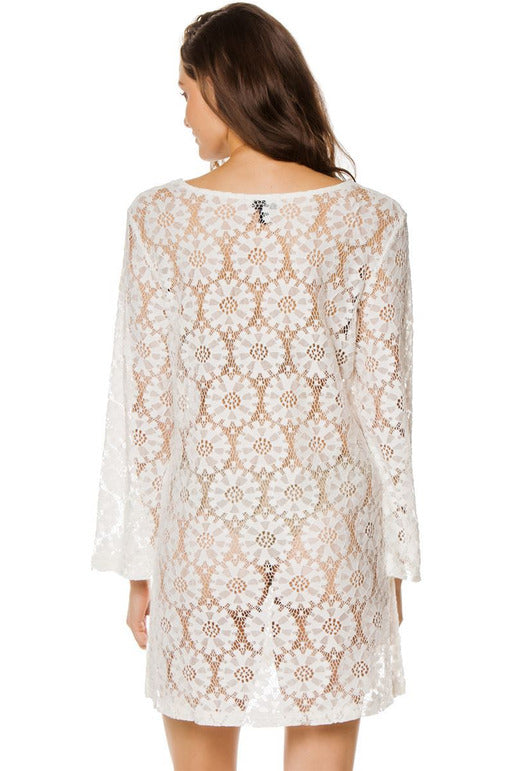 J. VALDI Women's Wovens Long Sleeve Crochet Cover Tunic