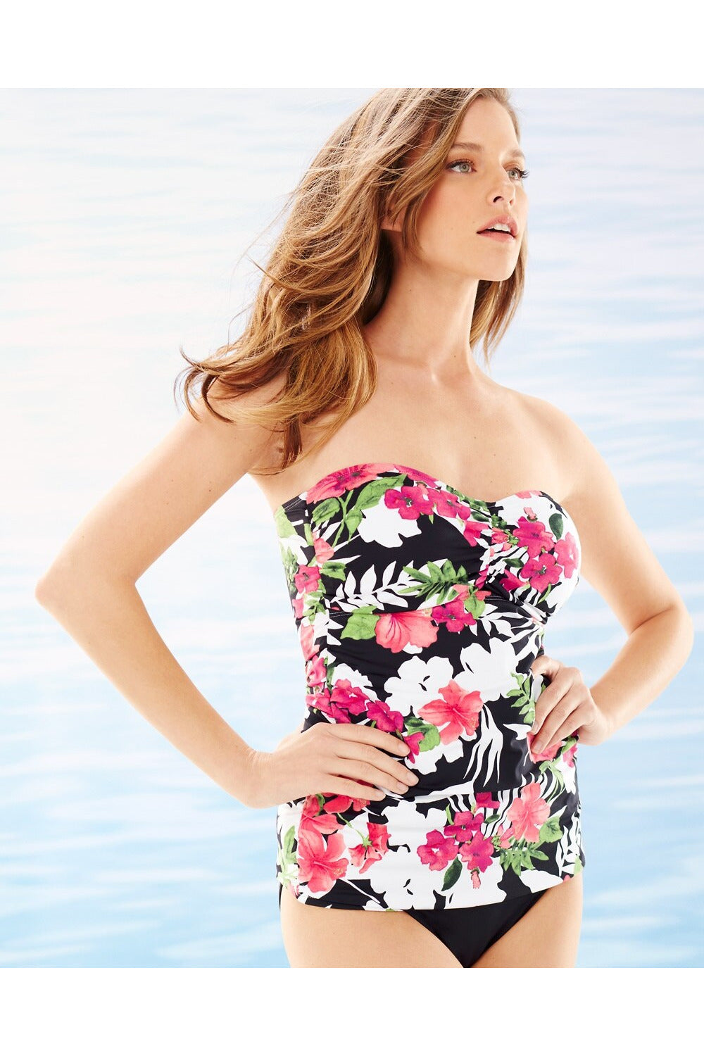Tommy Bahama- Victoria Blooms Shirred Bandeau Swim Tankini Set