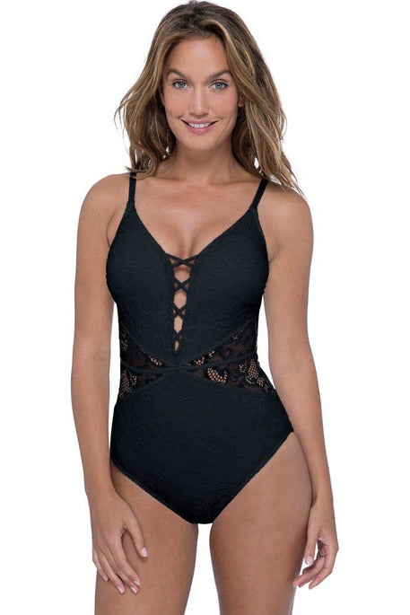 Profile by Gottex Shalimar Lace V-Neck One Piece Swimsuit