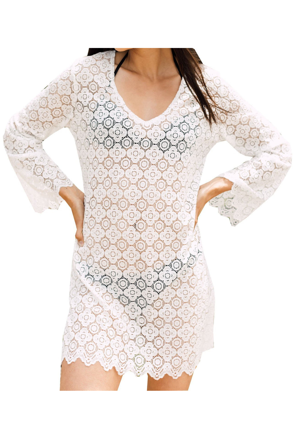 J Valdi Croatia Bell Sleeve Tunic Cover Up - White