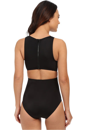 DKNY Street-Cast High Neck Cut Out One Piece Swimsuit