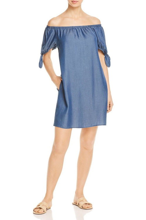 Tommy Bahama Chambray Off-the-Shoulder Dress Swim Cover-Up