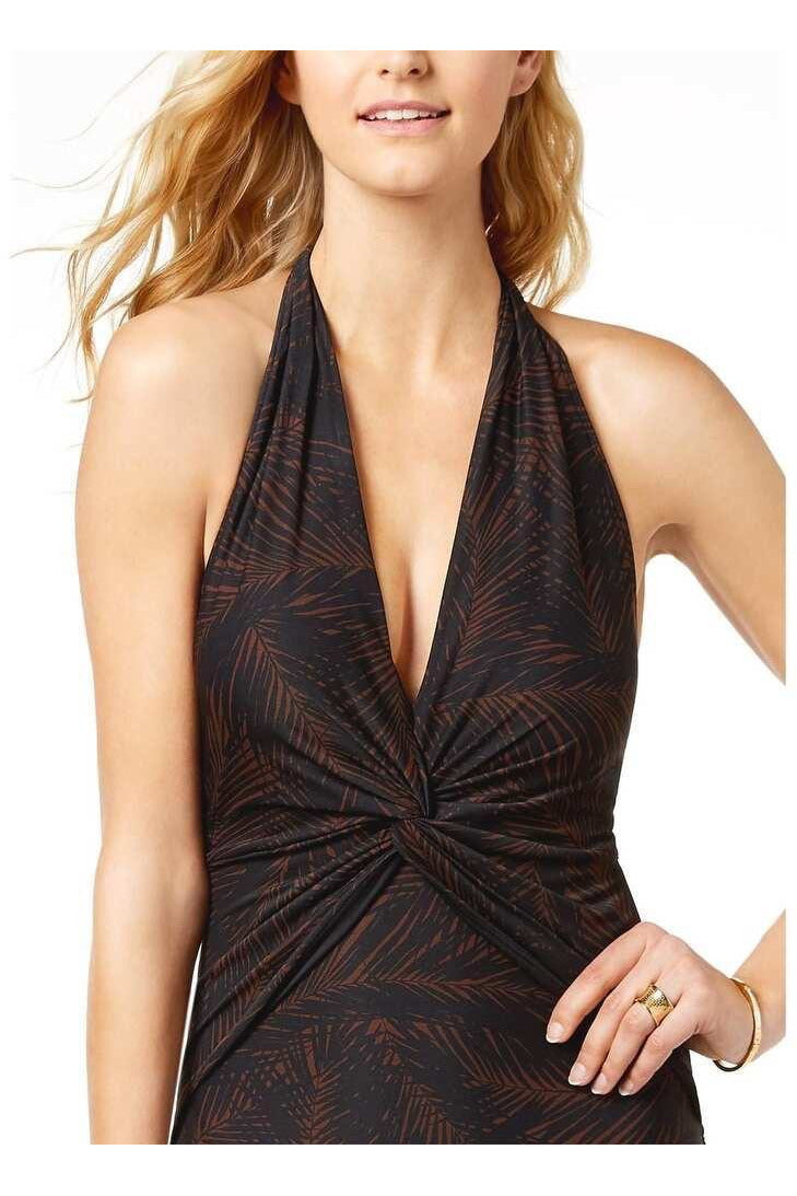 Michael Kors Womens Deep V-Twist Halter One-Piece Swimsuit