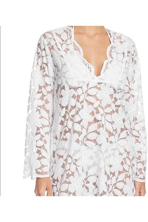 J.Valdi Sheer Scalloped Floral Lace Tunic