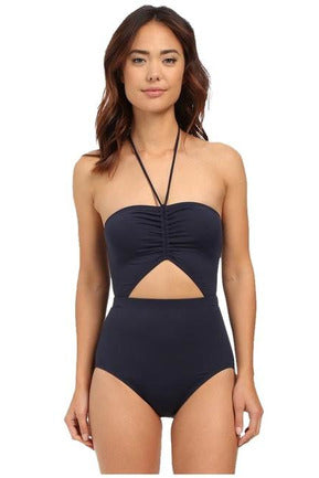 Michael Michael Kors Draped Solids Halter Maillot One-Piece Bathing Suit