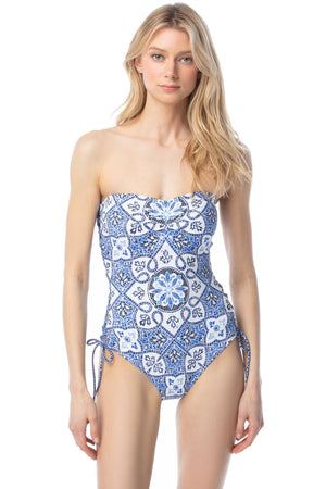 MICHAEL Michael Kors Side Lace Up Bandeau One Piece Swimsuit - Santorini Sunset