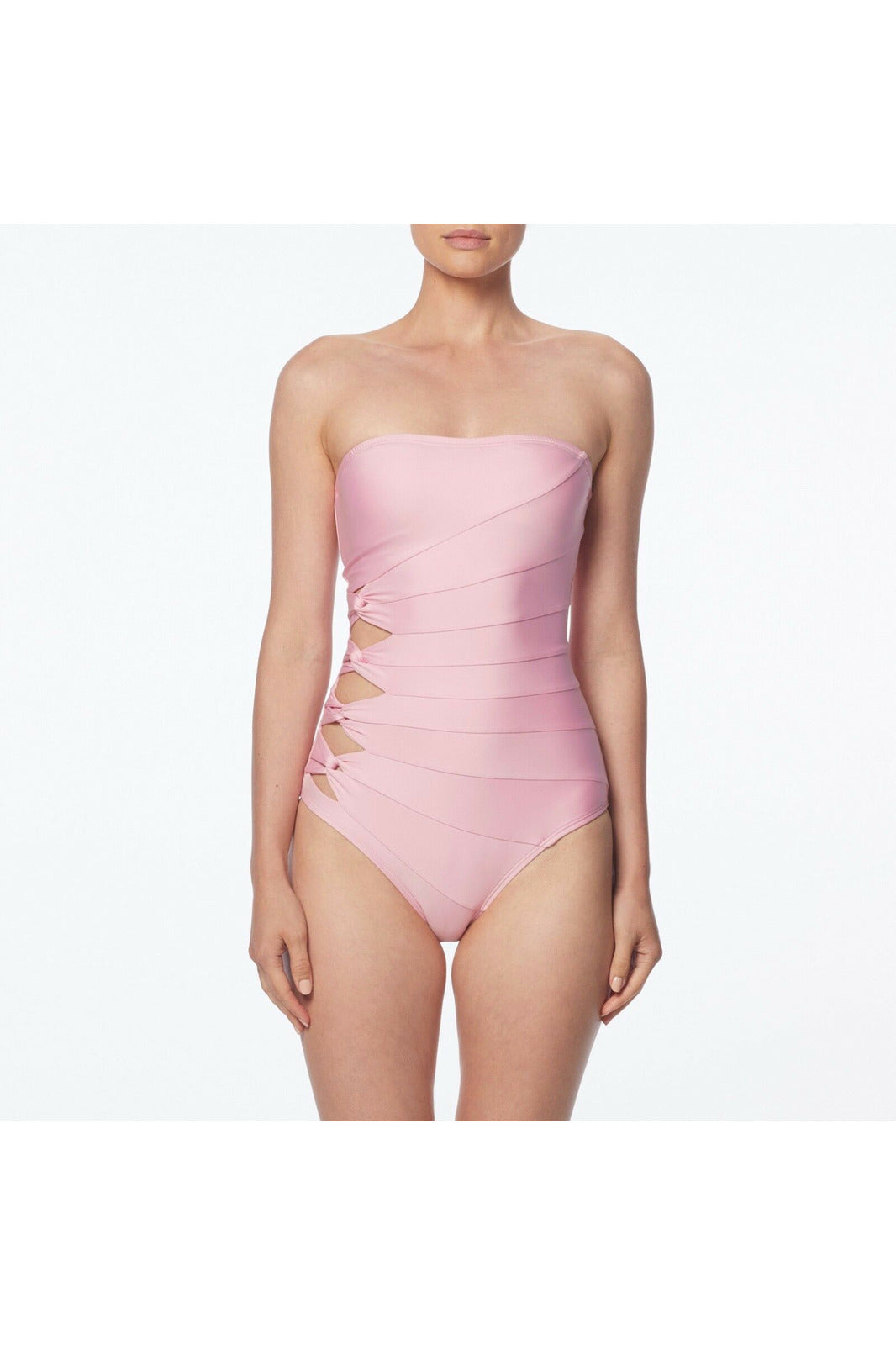 Carmen Marc Valvo Cut Out Bandeau One Piece Swimsuit - Coastal Twist Solids