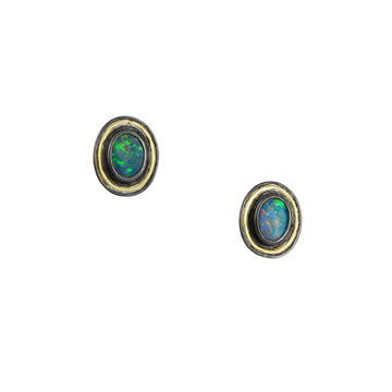 Kothari - Mixed Metal Bezeled Boulder Opal Stud Earrings