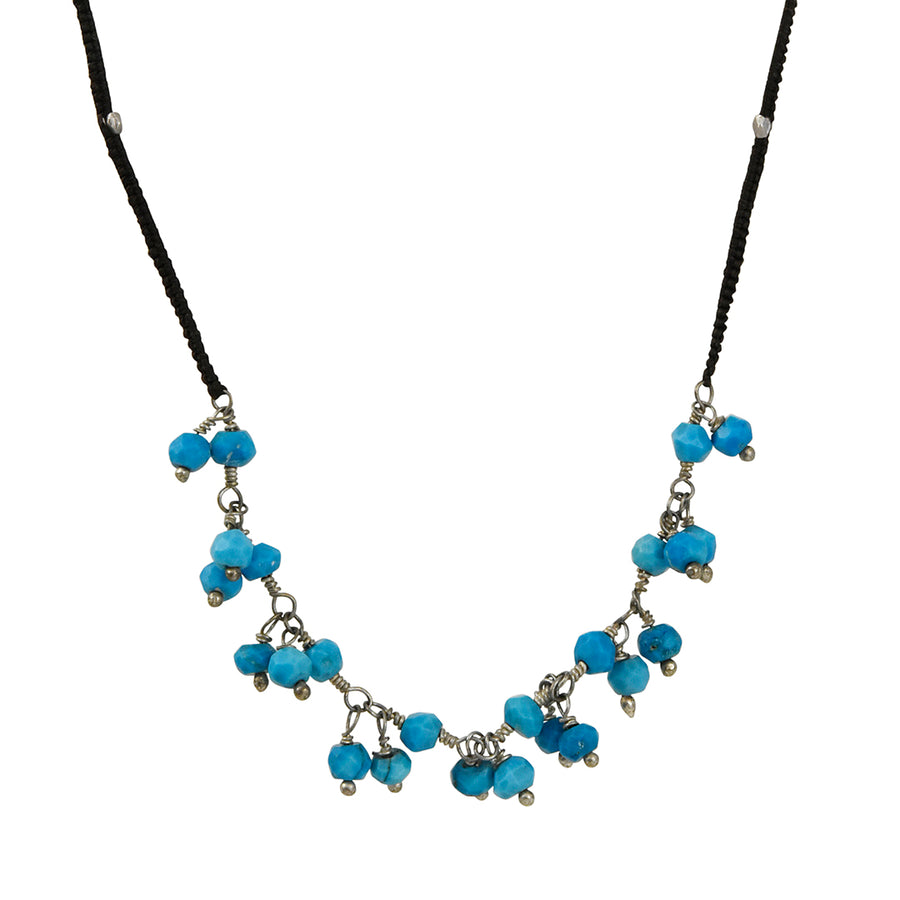 Danielle Welmond - Turquoise Chain on Black Cord Necklace