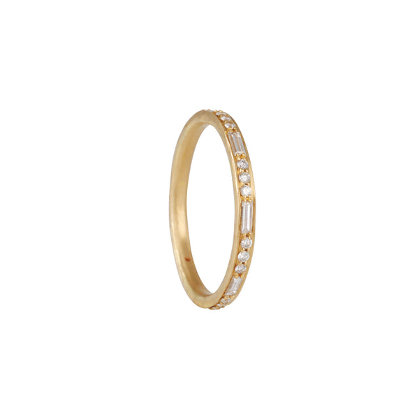 Annie Fensterstock - Eternity Band With Baguette and Round Cut Pave