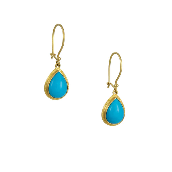 Steven Battelle - Smooth Teardrop Turquoise Earrings With Textured Halo